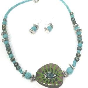 NEW handmade turquoise eye necklace